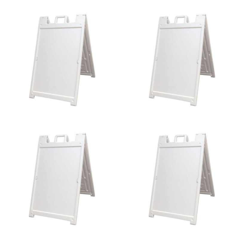 Plasticade Deluxe Signicade Portable Folding Double Sided Sign, White (4 Pack)