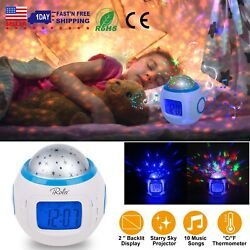 Kids Music Star Sky LED Projection Lamp Digital Alarm Clock Thermometer Calendar