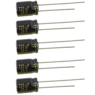 220uf 25v Radial Panasonic Fm Series Aluminum Electrolytic Capacitor Pkg. 5