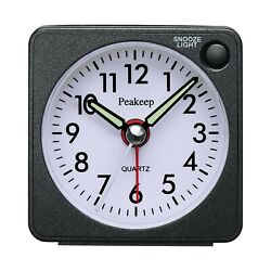 Peakeep Ultra Small, Battery Travel Alarm Clock with Snooze and Light, Silent...