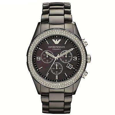 NEW EMPORIO ARMANI AR1455 BLACK CERAMIC WATCH - 2 YEARS WARRANTY