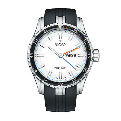 NEW Edox Grand Ocean Swiss Automatic Rubber Strap Watch 88002 3ORC ABUN