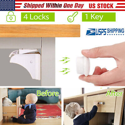 4Pcs Magnetic Cabinet Drawer Cupboard Safety Lock Baby Kids Latch Look Key Set