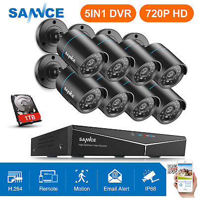 SANNCE HD 8CH 1080P HDMI DVR 720P 1500TVL IR-CUT Home Security Camera System 1TB