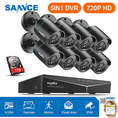 SANNCE 1TB 8CH Security System 1080P HDMI DVR 8x 720P 1500TVL CCTV Camera IR-CUT
