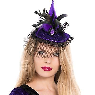 Erwachsene Damen Lila Böse Hexe Feder Spitz Clip Hut Halloween Zubehör
