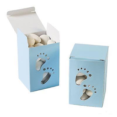 24 Blue Baby Boy Footprint Favor Boxes Shower Treats