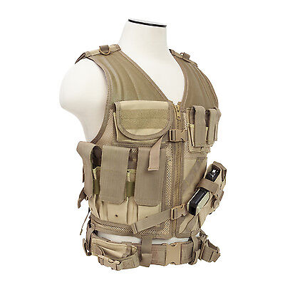 Military Tactical Vest - NcSTAR CTV2916T PVC Military Tactical Heavy Duty Vest w/ Pistol Holster TAN