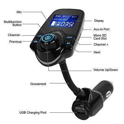 Car Bluetooth FM Transmitter Wireless MP3 Radio Adapter Handsfree USB Charger