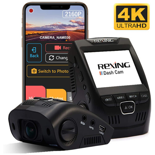 "Rexing V1 4K Ultra HD Dash Cam 2.4"" LCD Screen, Wi-Fi, GPS, Parking Mode, App"