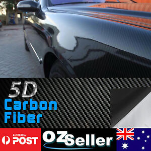 30CM x 1.51M 5D Gloss Black Carbon Fibre Fiber Vinyl Car Wrap Air Release Film