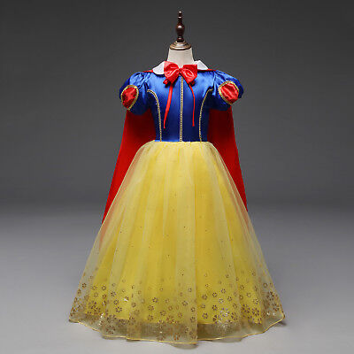 Girls Snow White Princess Costume Long Fancy Halloween Party Dress Cosplay L21 - White Costume