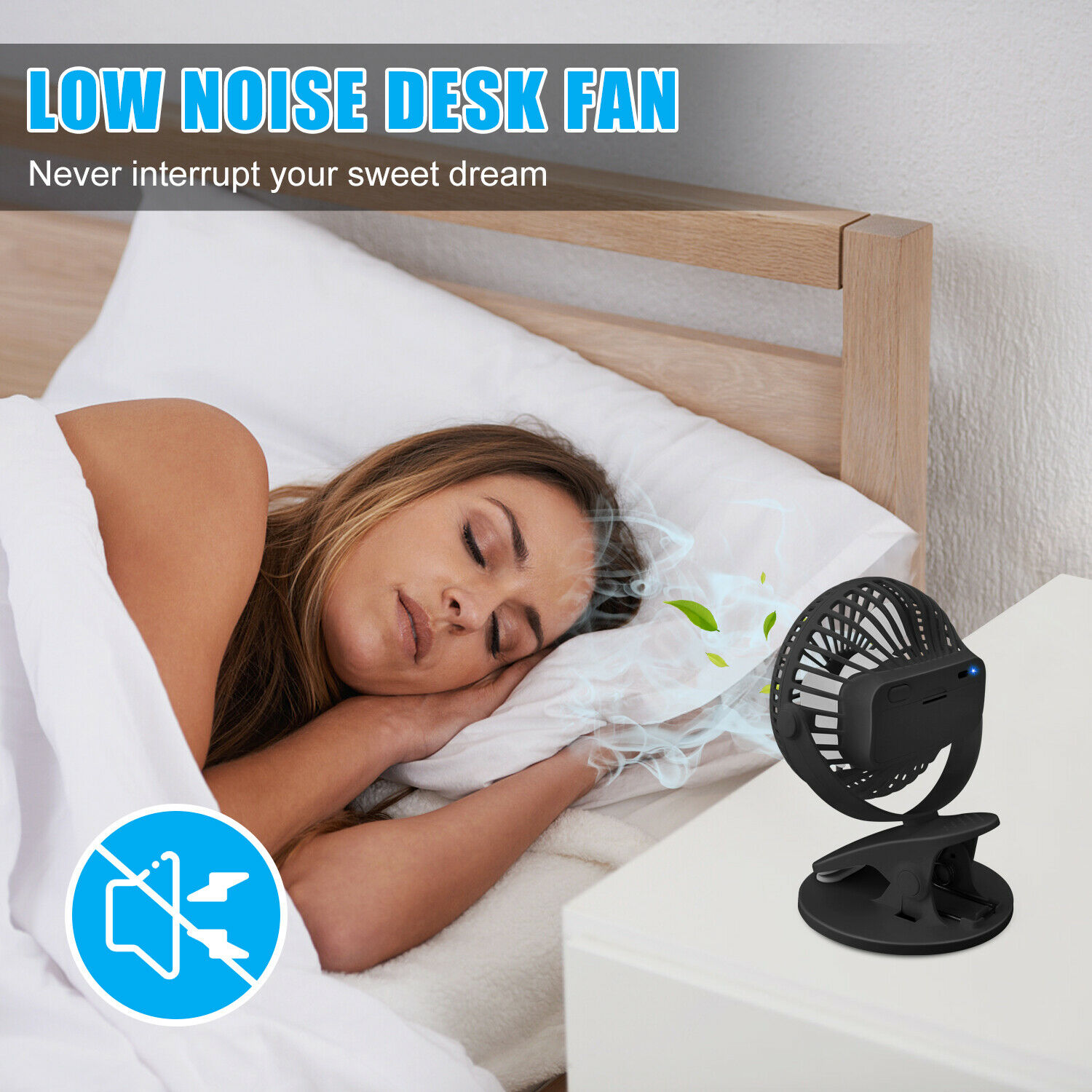3 Speeds USB Rechargeable Mini Cooling Fan Clip On Desk Baby Stroller Portable Heating, Cooling & Air