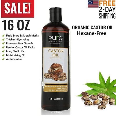 Castor Oil 100% Pure 16oz Organic Cold Pressed Hair Skin Eyelashes Eyebrows