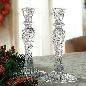 Waterford-Crystal-Sea-Jewel-Abstract-Candlesticks-Diamond-Cuts-Candle-Holder-Set