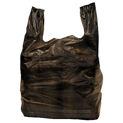 200 pc 1/6 Black Plastic T-Shirt Shopping Carryout  Bags 11.5