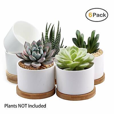 - Pack of 6- 3.15 inch  Succulent Pots, White Mini  Ceramic Flower Planter Pot