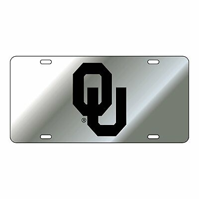 OU UNIVERSITY OF OKLAHOMA Sooners Silver-Black Mirrored License Plate / Car Tag  - Oklahoma Sooners License Plate