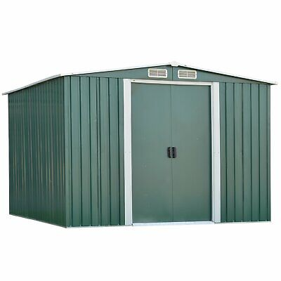 Kinbor 8' x 6' Outdoor Steel Garden Shed Storage Utility Tool Shed Backyard Lawn
