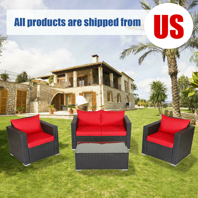 Garden Furniture - 4 PCS Cushioned Sofa Furniture Set Outdoor PE Rattan Garden Lawn Backyard Couch