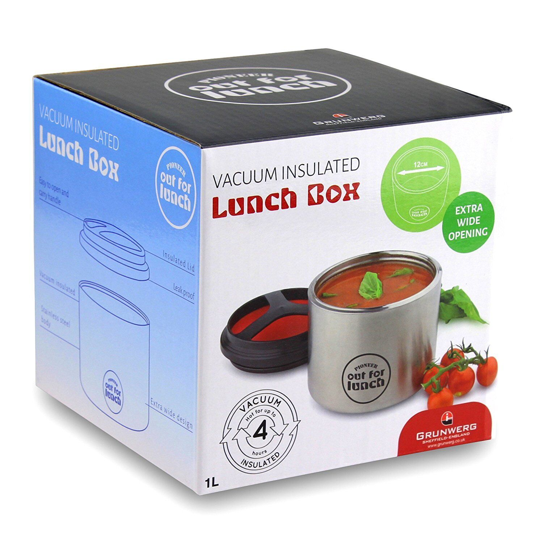 Grunwerg Vacuum Insulated 1 Litre Stainless Steel Lunch Box