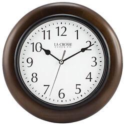404-2625 La Crosse Clock Company 10 Brown Solid Wood Analog Wall Clock
