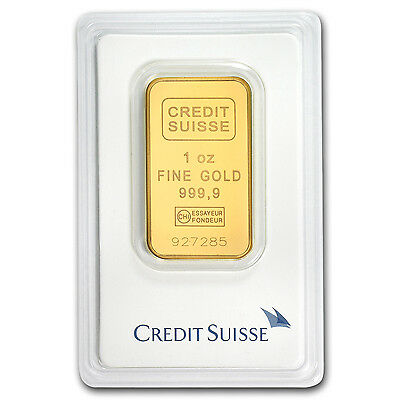 1 oz Credit Suisse Gold Bar .9999 Fine in Assay Card - SKU #132933