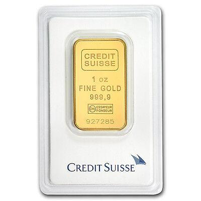1 Oz Credit Suisse Gold Bar  9999 Fine In Assay Card