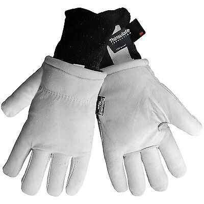 Mens Suede Gloves (3M Thinsulate Lined Mens Suede Goatskin Leather Winter Work Gloves Medium Large )