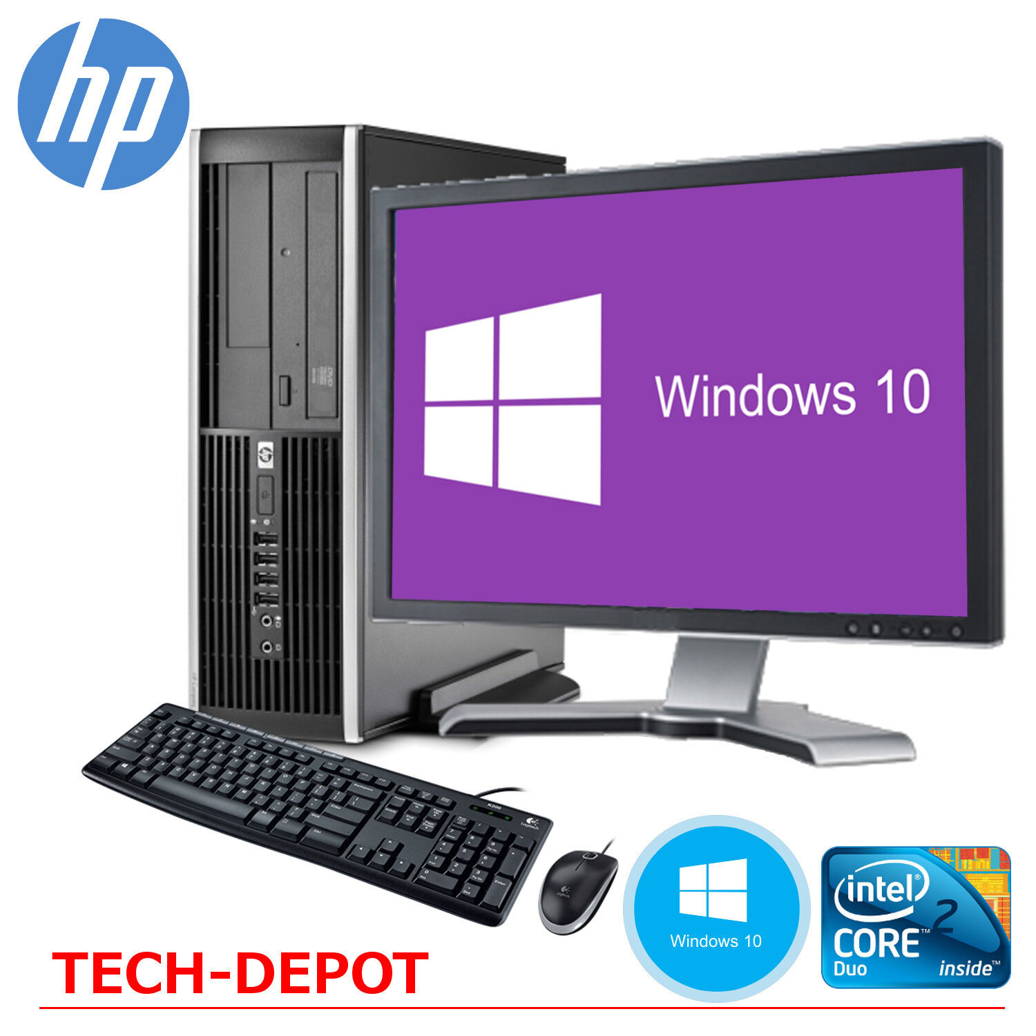 hp desktop computer pc core 2 duo 4gb 250gb hd windows 10 w 19 lcd monitor wifi. Black Bedroom Furniture Sets. Home Design Ideas