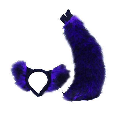 PAWSTAR Realistic Wolf Costume Ears & Tail Set - Cosplay Petplay Fox Purple 4207 - Wolf Tail Costume