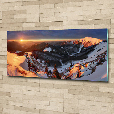 Glas-Bild Wandbilder Druck auf Glas 125x50 Deko Landschaften Winter in Bergen