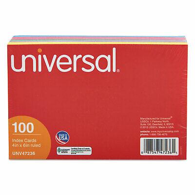 Universal Index Cards 4 X 6 Bluesalmongreencherrycanary 100pack 47236
