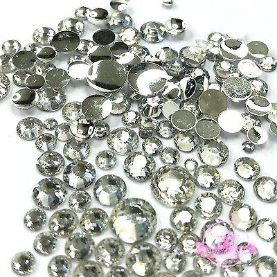 400 pcs 2mm - 6mm Resin clear crystal round Rhinestones Flatback Mix SIZE