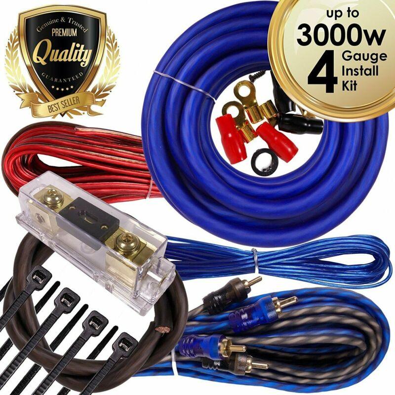 Complete 3000W 4 Gauge Car Amplifier Installation Wiring Kit Amp PK1 4 Ga Blue
