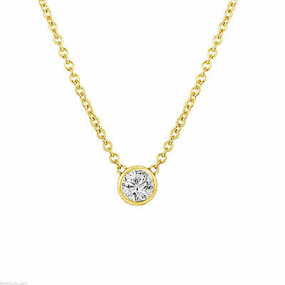 Solitaire Diamond Pendant Necklace, GIA Certified 0.53 Carat 14k Yellow Gold