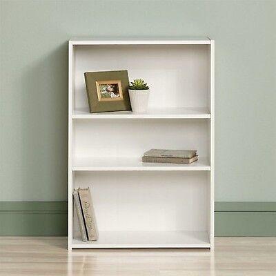 Bookcase 3 Shelf White Storage Bookshelf Wood Furniture Adjustable Book Shelving