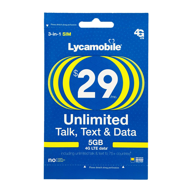 Lycamobile $29 Plan Preloaded 1st Month Free SIM 4GB 4G Data