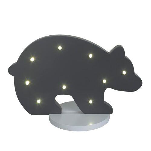 NoJo Bear Shaped Nursery Light, Baby Decor, Dark Grey, Baby Bear with Lights