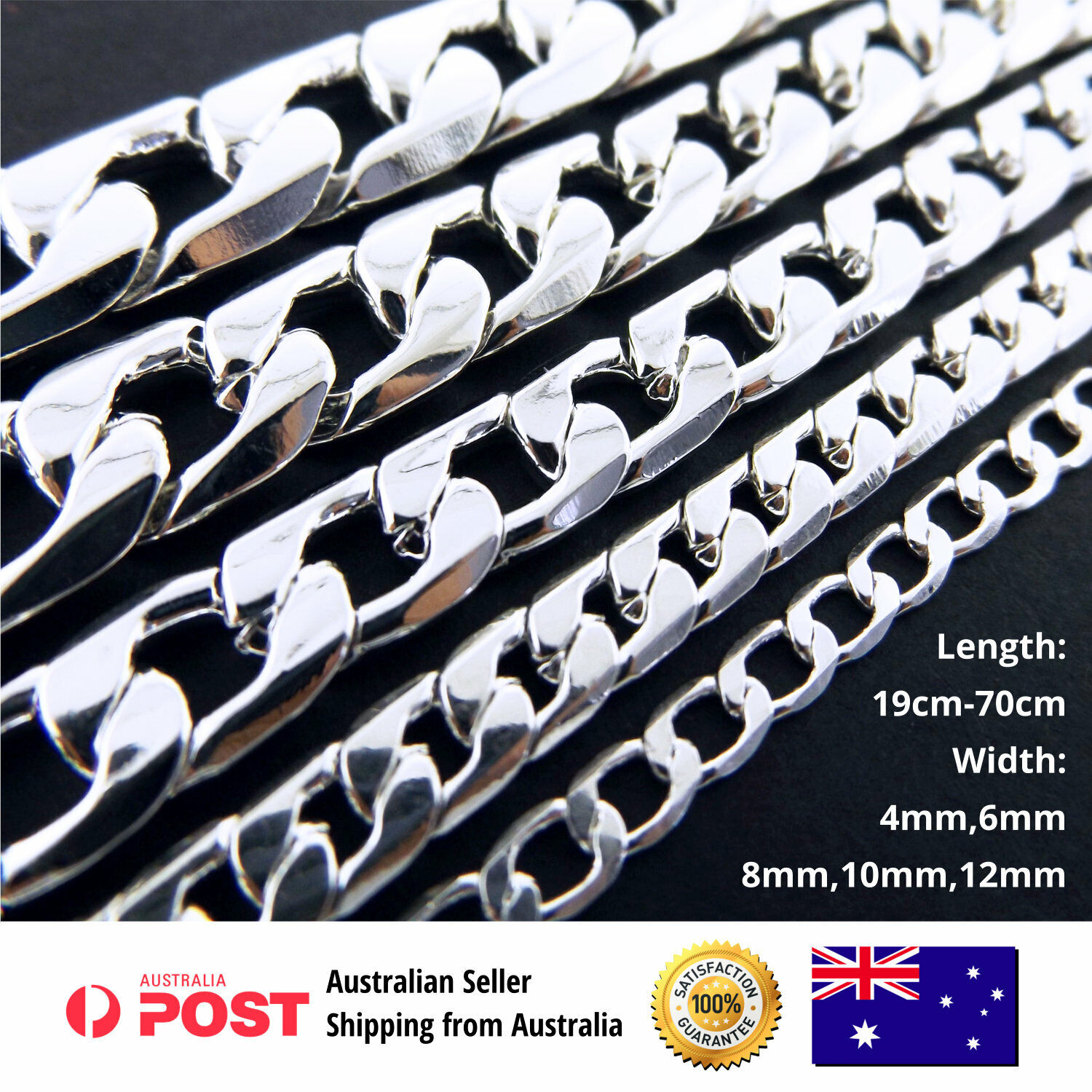 Jewellery - Necklace Chain Bracelet Real 925 Sterling Silver Filled Solid Men's Ladies Curb