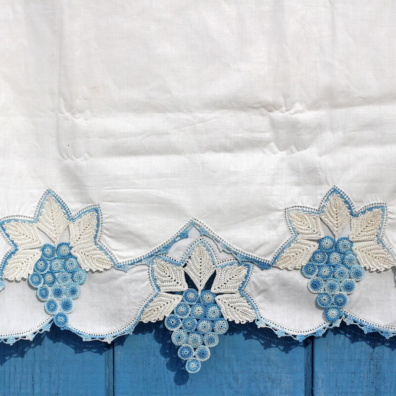 Antique Vintage White Cotton Bolster Cover Pillowcase Blue Grape Crocheted Lace