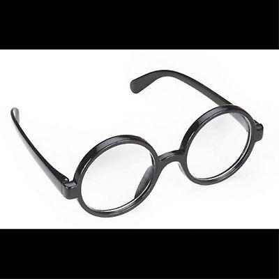 Steampunk-BLACK ROUND OWL GLASSES-Harry Potter School Boy Naughty Girl Costume