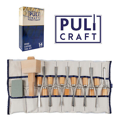 Wood Carving Tools Chisel Set 14 piece - Heavy Duty Woodworking Kit with Carry - Carving Kit