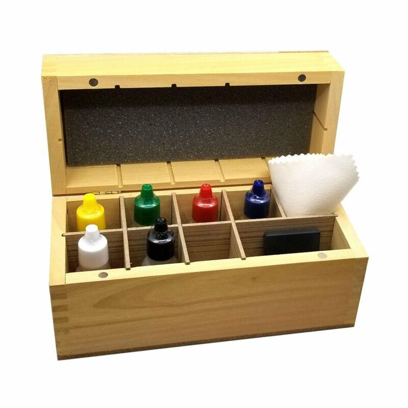 Gold Test Acid 10K 14K 18K 22K SILVER PLATINUM TESTING KIT + Stone + Wooden Box