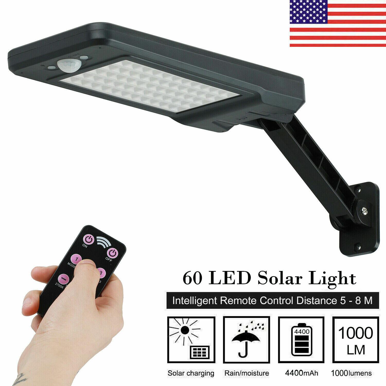 US 60 LED Solar Dimmable Wall Street Light PIR Motion Sensor