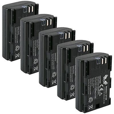 5x Akku für Canon LP-E6 | 65164|mit Infochip| EOS 70D 60D 7D...