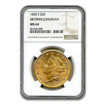 Click now to see the BUY IT NOW Price! 1865 S $20 LIBERTY GOLD DOUBLE EAGLE MS 64 NGC   SKU 132552