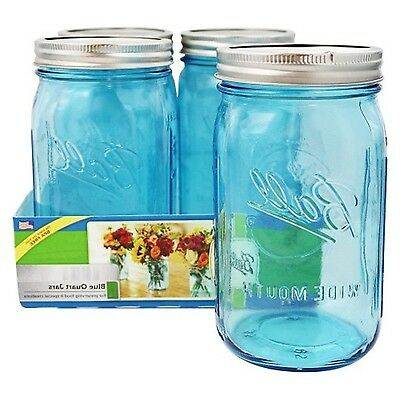 Wide Mouth Quart Jars Blue Glass Mason Canning Jar 4 Pack 32Oz Elite Collection