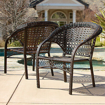 Brown 2-Piece Resin Wicker Stackable Outdoor Patio Dining Chairs Furniture