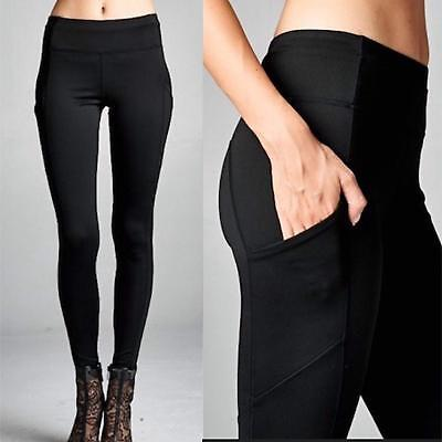 New Premium Black Yoga Pants POCKETS Scuba Compression Fit Leggings Best